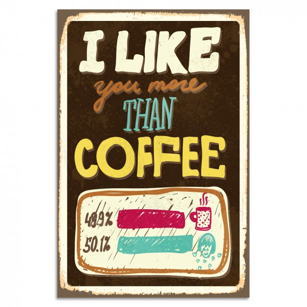 """I Like You More Than Coffee"" Blechschild"