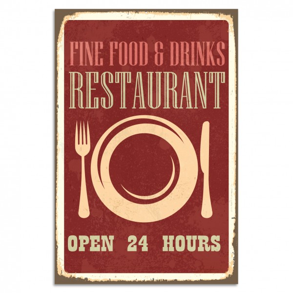 """Fine Food & Drinks Restaurant"" Blechschild"