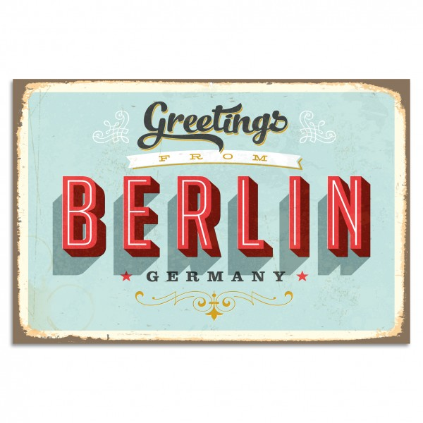 """Greetings From Berlin - Germany"" Blechschild"