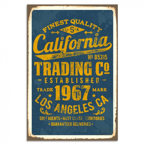 """California Trading Co"" Blechschild"