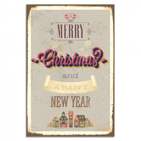 """Merry Christmas And A Happy New Year"" Blechschild"