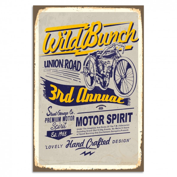 """Wild Bunch - Motor Spirit"" Blechschild"