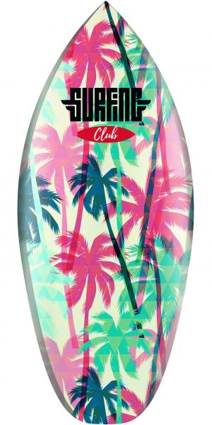 """""""Surfing Club with Palms"""" Surfboard"""