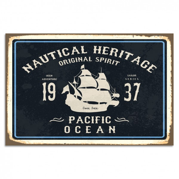 """Nautical Heritage - Pacific Ocean"" Blechschild"