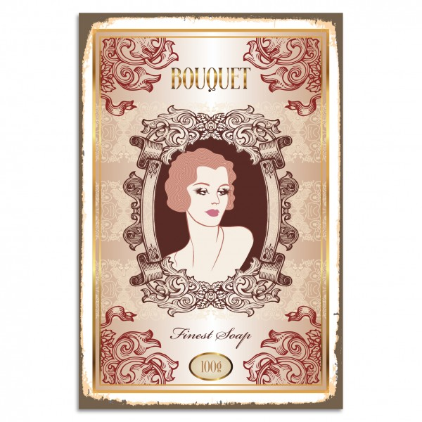 """BOUQUET - Finest Soap"" Blechschild"