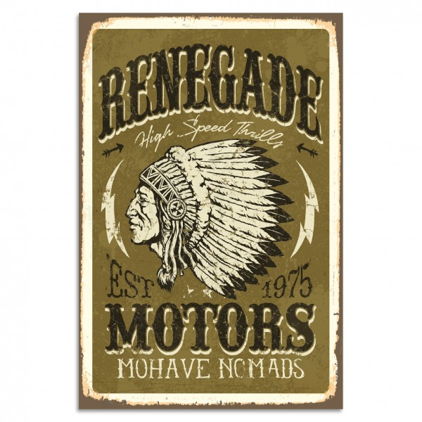 """Renegade - Motors"" Blechschild"