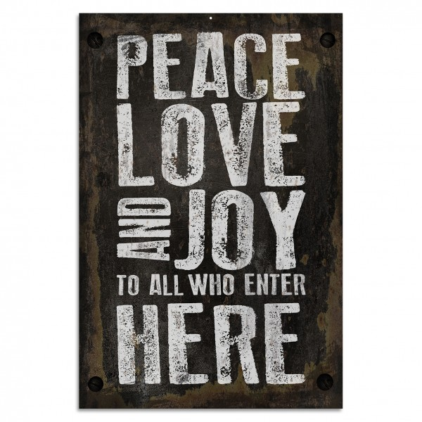 """Peace Love And Joy"" Blechschild"