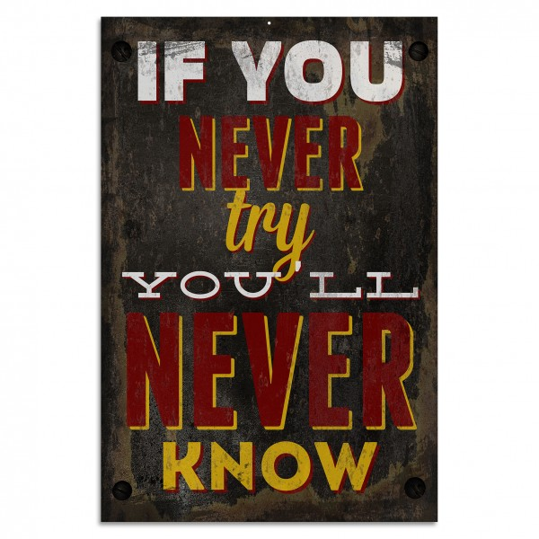 """If You Never Try, You'll Never Know"" Blechschild"