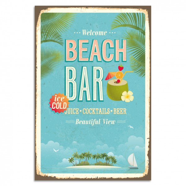 """Beach Bar"" Blechschild"