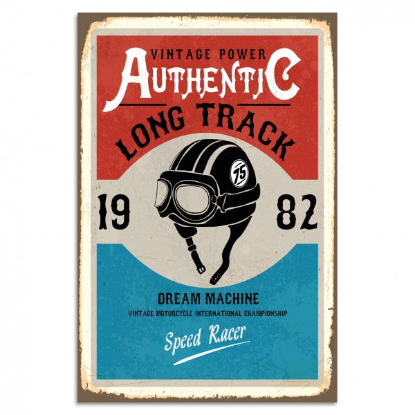"""Authentic Long Track"" Blechschild"